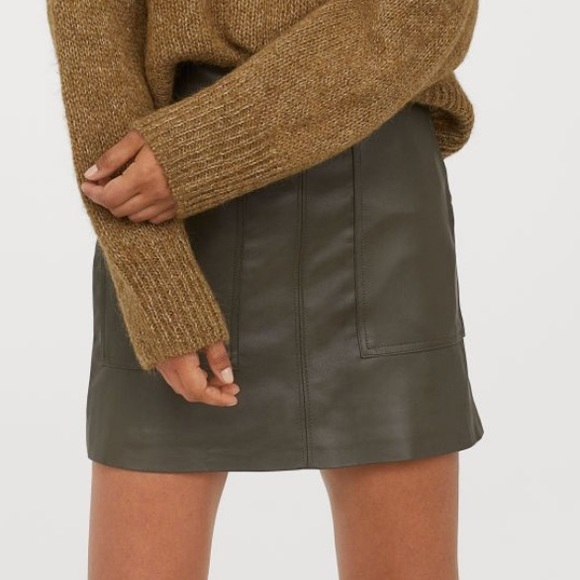 H&M skirt faux leather mini skirt in green